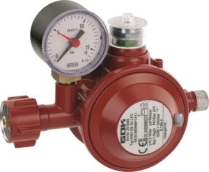 Roter Druckminderer mit der Bestellnummer 05 150 00, der auch für Gasgrills und Heizpilz eingesetzt werden kann.