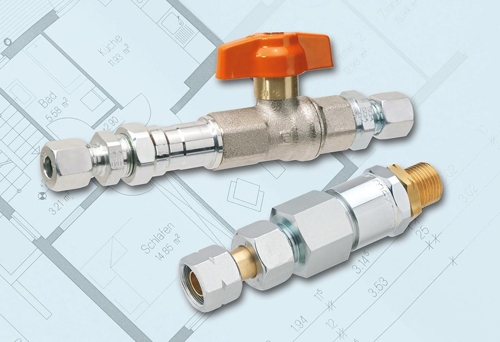 Müssen bei der Konzeptionierung der Vierflaschenanlage einzeln ausgewählt werden: Kugelhahn (li.) und Gasströmungswächter (re.).