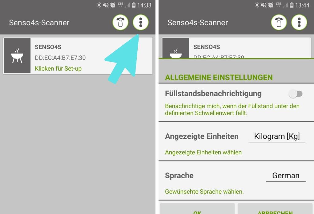 Links der Homescreen des Senso4s; rechts das Fenster, das sich bei Klick auf das Symbol mit den drei Punkten öffnet.