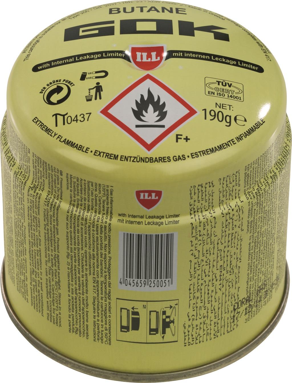 Gaskartusche von GOK zum Stechen mit einem Füllgewicht von 190 Gramm. Kann im Gebäude gelagert werden, allerdings unter gewissen Voraussetzungen.