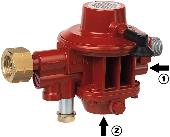 Druckregler für Anschluss an die Flüssiggasflasche ohne Rot-/Grün-Sichtanzeige: Über eine Druckschraube (1) unterhalb des Ausgangsanschlusses wird das OPSO (2) entriegelt.