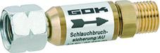Die automatische Schlauchbruchsicherung schützt vor Gasaustritt, wenn mal ein massives Leck entstehen sollte, zum Beispiel, wenn die Schlauchleitung abreißt.