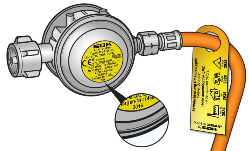 Druckregler, Gasschlauch etc. unterliegen als Komponenten einer Flüssiggasanlage Austauschfristen. GOK sagt Ihnen, nach wieviel Jahren im Einsatz Sie was tauschen müssen.