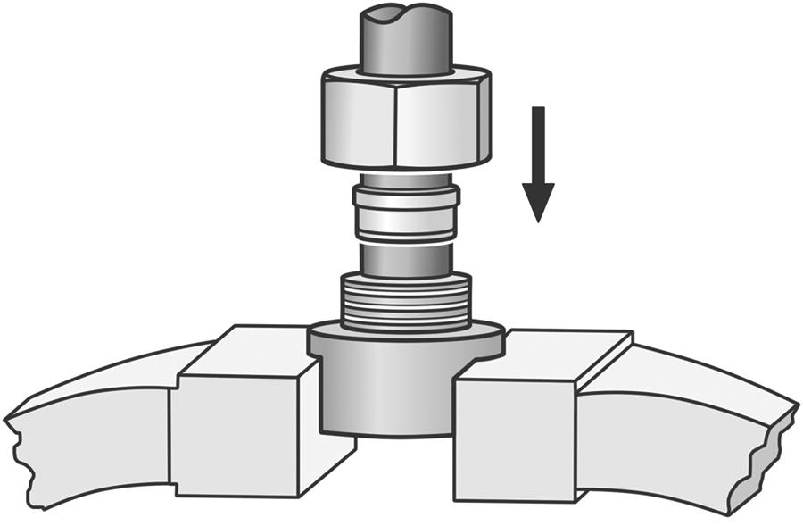 Eine Schneidringverschraubung lässt sich sehr gut mithilfe eines wie hier im Schraubstock eingespannten Vormontagestutzens vormontieren.